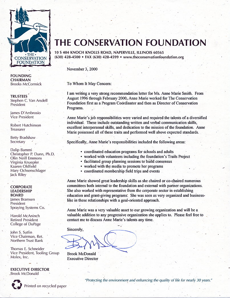 recommendation letters for anne marie smith non profit organization where anne marie worked three and a half years as the director of conservation programs